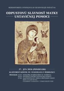 Oslavy Matky ustavičnej pomoci v Podolínci