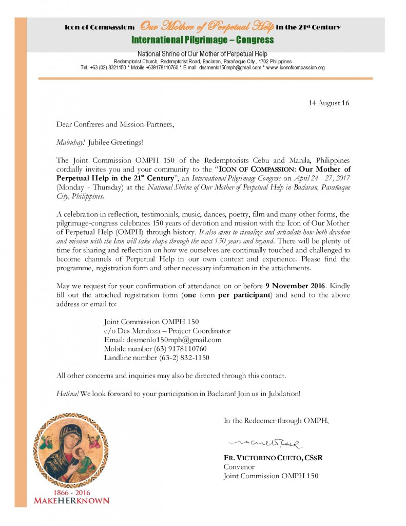 Icon of Compassion Invitation Letter