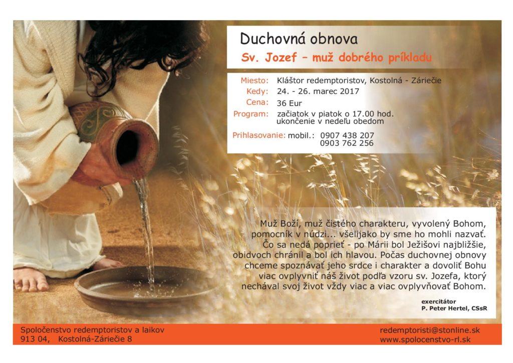 Sv. Jozef - muž dobrého príkladu (duchovná obnova) @ Kostolná - Záriečie | Slovensko