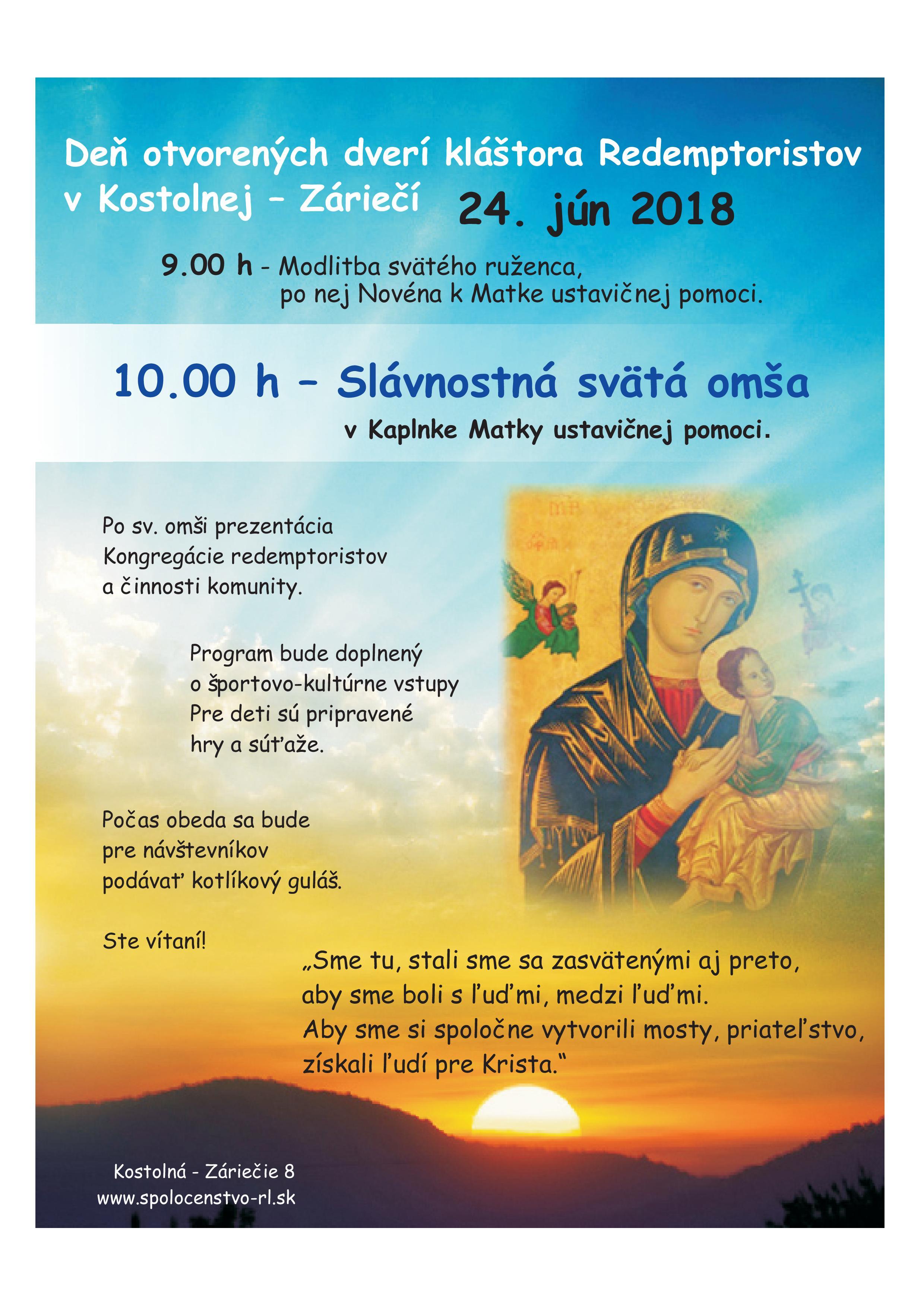 Deň otvorených dverí kláštora Redemptoristov Kostolná - Záriečie