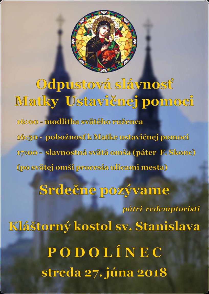 Odpustová slávnosť Matky ustavičnej pomoci v Podolínci