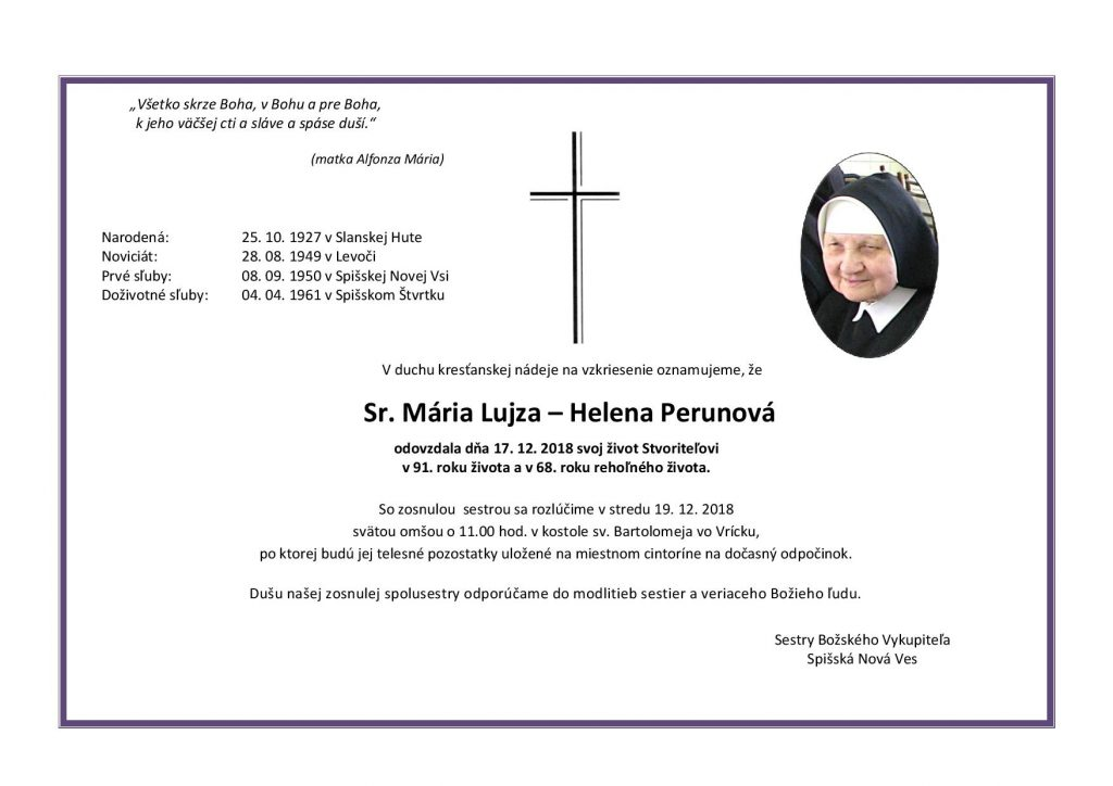 Pohreb sestry Márie Lujzy